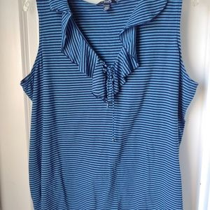 Chaps Sleeveless Blue Stripped Too